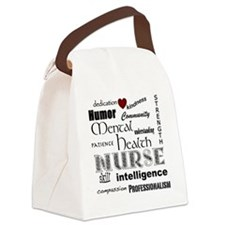 Mental Health Nurse Black-red hea Canvas Lunch Bag