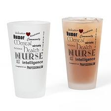 Mental Health Nurse Black-red heart Drinking Glass