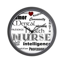 Mental Health Nurse Black-red heart Wall Clock