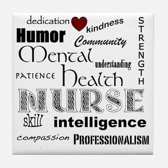 Mental Health Nurse Black-red heart Tile Coaster