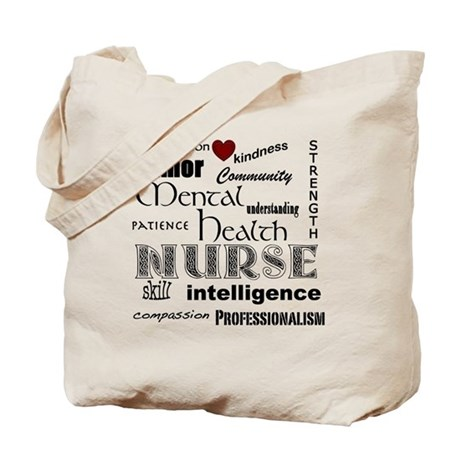 Mental Health Nurse Black-red heart Tote Bag