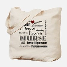 Mental Health Nurse Black-red heart Tote Bag