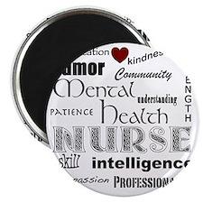 Mental Health Nurse Black-red heart Magnet