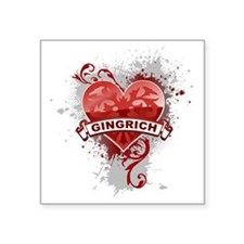 """Newt Gingrichheart2 Square Sticker 3"""" x 3"""""""