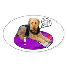 Airedale Valentine's Oval Decal