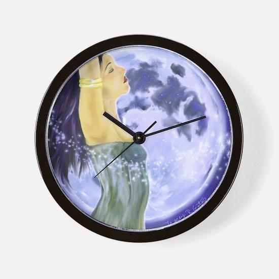 laptop magical moon Wall Clock
