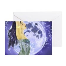 laptop magical moon Greeting Card