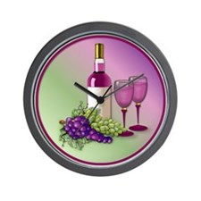 Wine & Grapes Still Life Wall Clock
