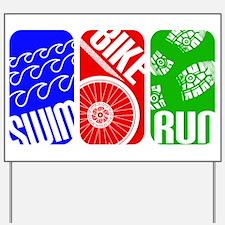 Triathlon TRI Swim Bike Run Rectangles Yard Sign