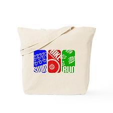 Triathlon TRI Swim Bike Run Rectangles Tote Bag