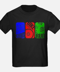 Triathlon TRI Swim Bike Run Rectangles T-Shirt