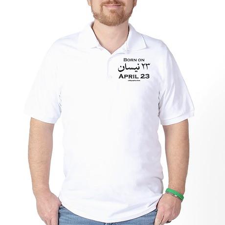 April 23 Birthday Arabic Golf Shirt