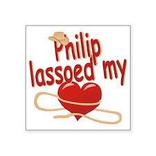 """philip-b-lassoed Square Sticker 3"""" x 3"""""""