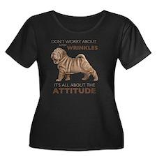 attitude Women's Plus Size Dark Scoop Neck T-Shirt