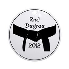 Martial Arts 2nd Degree Black Belt Round Ornament