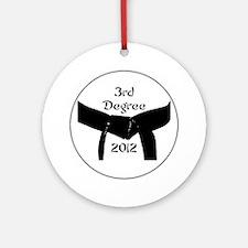 Martial Arts 3rd Degree Black Belt Round Ornament