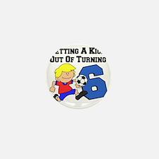Soccer Boy Turning 6 Mini Button