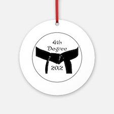 Martial Arts 4th Degree Black Belt Round Ornament