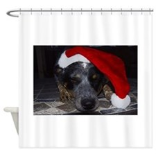 Christmas Cattle Dog Shower Curtain