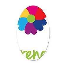 Irene-Heart-Flower Oval Car Magnet