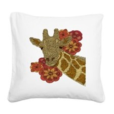 Jewel Giraffe Square Canvas Pillow