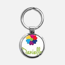Danielle-Heart-Flower Round Keychain