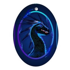 Horned Black Dragon _journal Oval Ornament