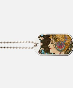 Coin Mucha Feather Dog Tags