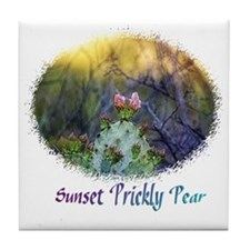 sunset prickly pear Tile Coaster
