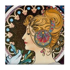 Btn Mucha Feather Tile Coaster