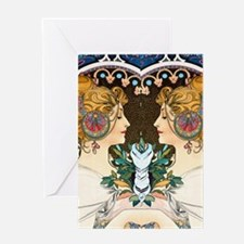 FF Mucha Feather Greeting Card