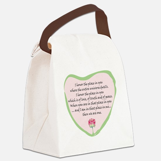 namaste-front Canvas Lunch Bag