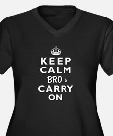 KEEP CALM BRO & CARRY ON -wt- Women's Plus Size V-