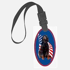 gordon setter with flag2 Luggage Tag