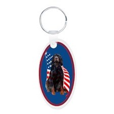 gordon setter with flag2 Keychains