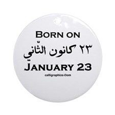 January 23 Birthday Arabic Ornament (Round)