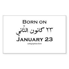 January 23 Birthday Arabic Rectangle Decal