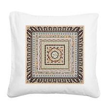 Earthtone Squares Tile Square Canvas Pillow