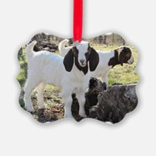 Twin Goats In The Woods Ornament