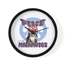 PEACE LOVE and MALAMUTES Wall Clock