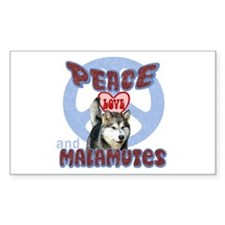 PEACE LOVE and MALAMUTES Rectangle Decal