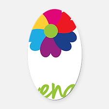 Lena-Heart-Flower Oval Car Magnet