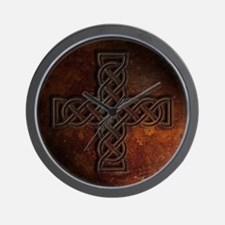 Celtic Knotwork Rust Cross Wall Clock