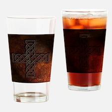Celtic Knotwork Rust Cross Drinking Glass