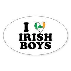 I Love Irish Boys Heart Oval Decal