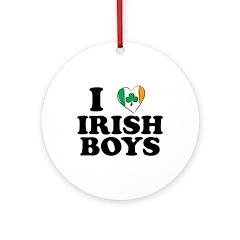 I Love Irish Boys Heart Ornament (Round)