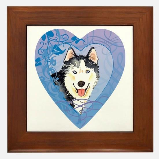 husky-heart Framed Tile