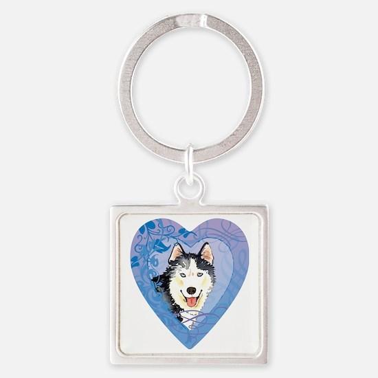 husky-heart Square Keychain