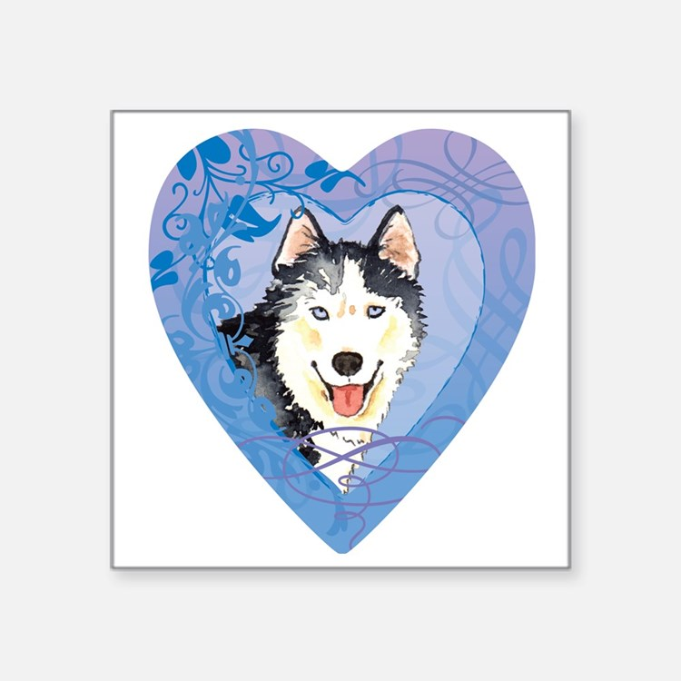 "husky-heart Square Sticker 3"" x 3"""