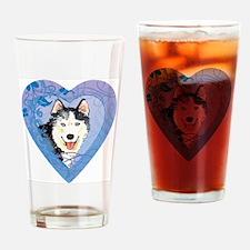 husky-heart Drinking Glass